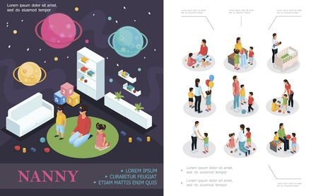 Isometric nanny work concept with babysitter playing with kids in child room nanny and children in different situations Illustration