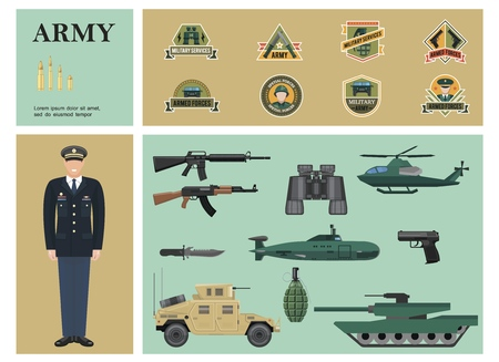 Flat military colorful composition with officer machine guns binoculars pistol grenade armored car tank helicopter submarine bullets and army labels Ilustracja