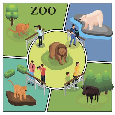 Isometric zoo colorful concept with visitors watching and photographing animals zookeeper feeds polar bear