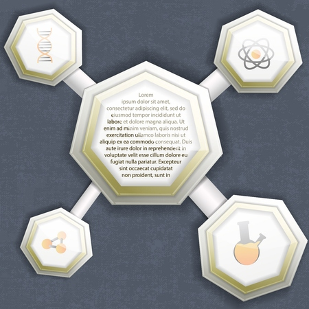 Infographics template with paper molecule structure and chemistry symbols