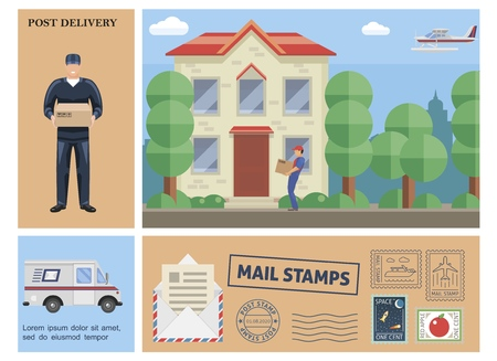 Flat colorful post service composition with postman holding box courier delivering parcel to customer van float plane mail stamps Illustration