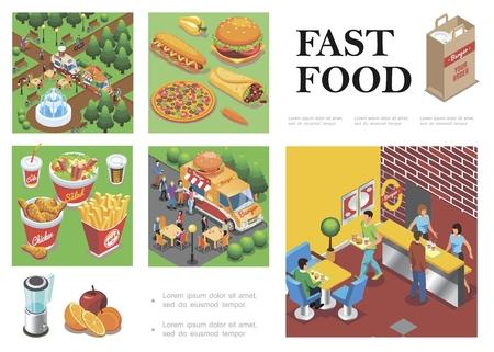 Isometric fast food composition with street food trucks fast food restaurant 向量圖像