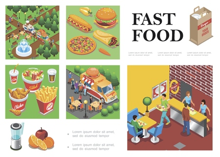 Isometric fast food composition with street food trucks fast food restaurant Illustration