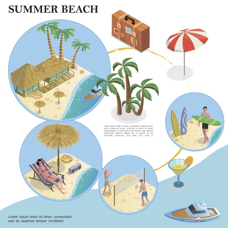 Isometric summer vacation template with bag umbrella boat cocktail palm trees bungalow hotel people playing volleyball and sunbathing on beach