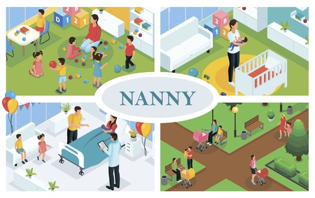 Isometric children care concept with nanny playing and walking with kids babysitter puts baby to sleep and father congratulates mother with childbirth Illustration