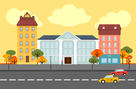 Autumn city landscape concept with government cafe hotel buildings trees people moving cars on road