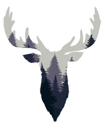 Silueta de cabeza de ciervo con paisaje de bosque de coníferas dentro en blanco aislado