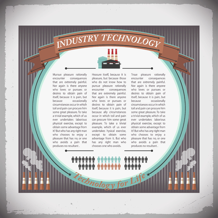 Industry technology design with text at white circle and smokestacks on grey striped
