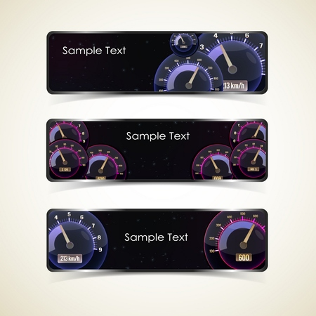 Three horizontal isolated different styles speedometers interface banner set with place for text Illustration