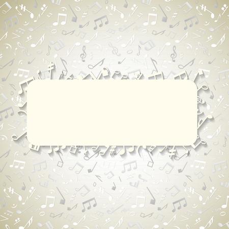 Conception de disque de couverture de couleur claire avec un espace pour le texte et des notes et de la musique éparses élégantes
