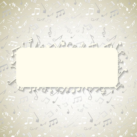 Light color cover disk design with space for text and stylish scattered notes and music