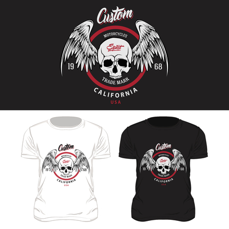 Colored isolated t shirt print design composition with skulls black and white