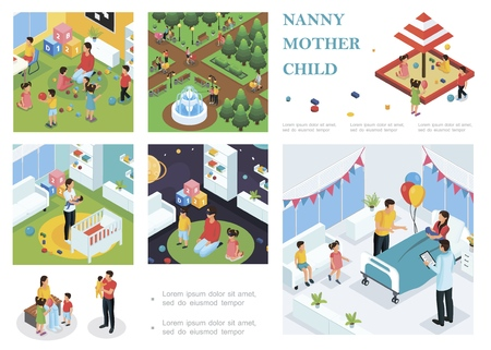 Isometric children care composition with nanny walking and playing with kids babysitter puts baby to sleep father congratulates mother with childbirth Ilustração