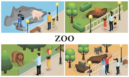 Isometric zoo animals colorful composition with parents children zookeepers