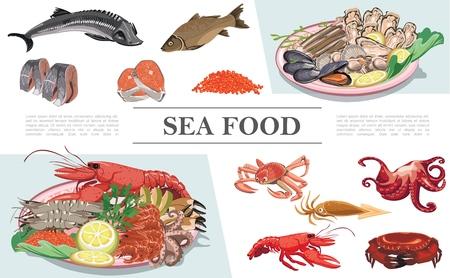Płaska kolorowa kompozycja owoców morza Ilustracje wektorowe