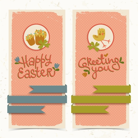 Vertical pink textured doodle banners with cute chicken flowers and ribbons isolated