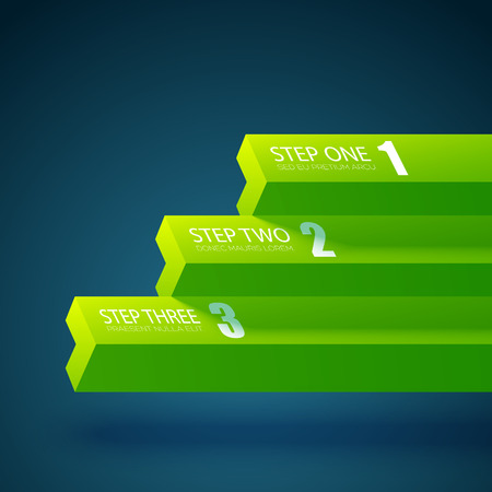Business web design infographics with horizontal green straight bars and three steps