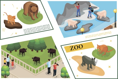 Isometric zoo concept with visitors watching and photographing buffalos tiger rhino kangaroo brown bear and zookeepers feed polar bears vector illustration