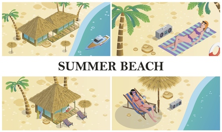 Isometric summer time composition with women sunbathing on beach bungalow hotel recorder palm trees boat and lifebuoy