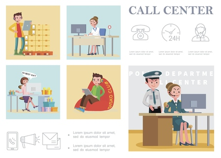 Flat call center composition with helplines services of police department hospital shop and telephone clock operator mobile envelopes megaphone icons vector illustration 向量圖像