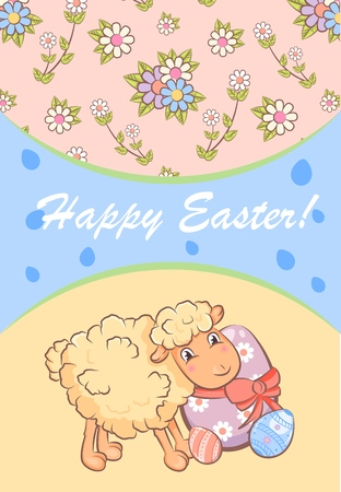 Colorful Happy Easter poster with cute sheep ornate eggs gift present and beautiful chamomiles vector illustration