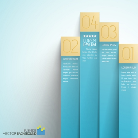 Choice of option business infographics with blue vertical numbered paper stripes on light Vettoriali