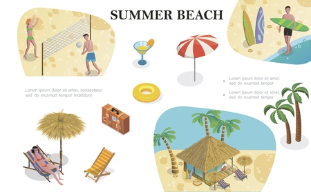 Isometric summer beach vacation concept with recliner bag cocktail umbrella lifebuoy palm trees man holding surfboard house bungalow people playing volleyball