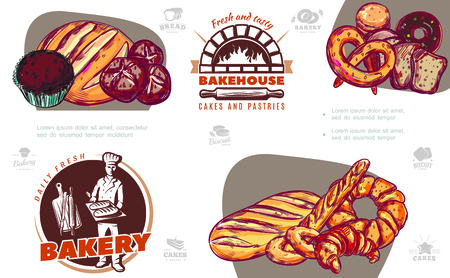 Sketch baking products colorful composition with muffin bread french baguette donut croissant pretzel and bakery labels vector illustration