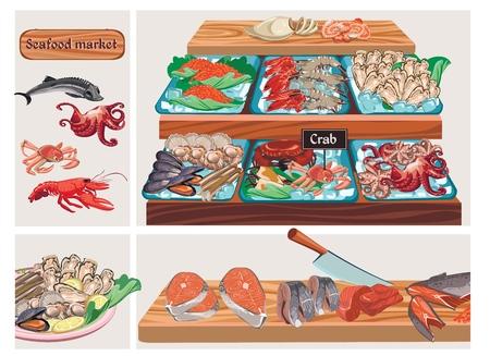 평평한 해산물 시장 구성