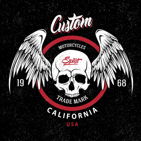 Motorcycles trademark emblem with winged skull in red circle on grungy black background vector illustration