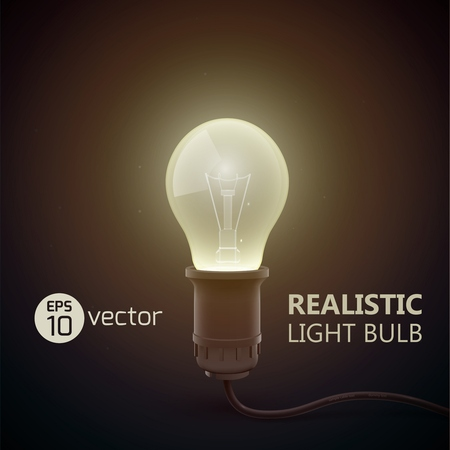 Real light bulb stylish composition with bih light headline and light in the dark vector illustration