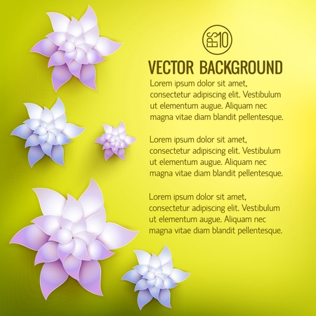 Floral natural bright poster with text and realistic blossom colorful lotus flowers on light background vector illustration Illustration