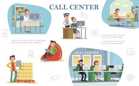 Flat call center colorful composition with support workers of helpline services of hospital bank police department shops