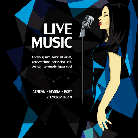 Live music party advertising poster with woman singing in microphone on geometric triangular background vector illustration Illustration