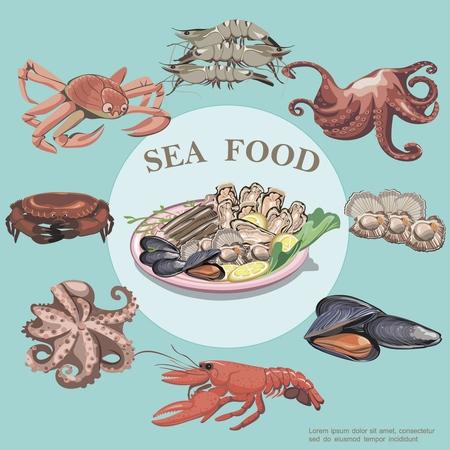 Piatto rotondo di frutti di mare con aragosta granchio gamberi polpo cozze ostriche e piatto di frutti di mare