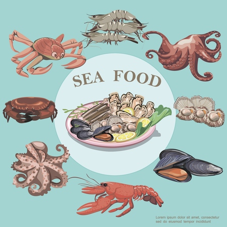 Flat sea food round concept with lobster crab shrimps octopus mussels oysters and plate of seafood