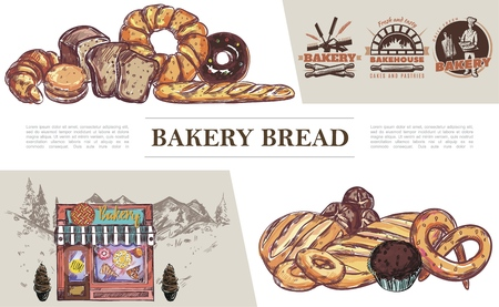 Sketch baking products concept with bake house emblems bread bagel croissant muffin pretzel buns donut bakery shop