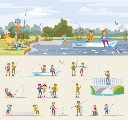 Fishing activity concept with fishermen catch fish using rod net spinning boat on lake vector illustration