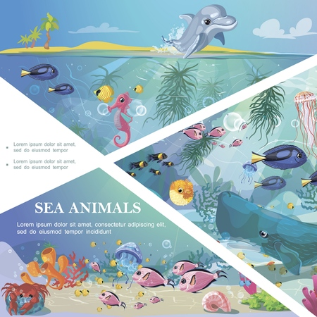Cartoon underwater life template with sea animals creatures marine seaweeds and corals