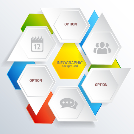 Concept web d'infographie numérique avec des hexagones gris et colorés avec des icônes d'affaires illustration vectorielle isolée Vecteurs