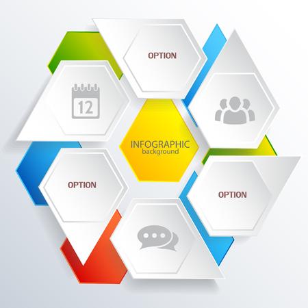 Il concetto di web infografico digitale con esagoni grigi e colorati con icone di affari ha isolato l'illustrazione vettoriale Vettoriali