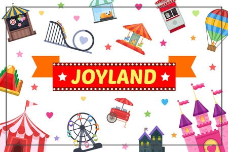 Flat amusement park colorful concept with horror house castle hot air balloon roller coaster Ferris wheel food cart ticket booth in rectangular frame Illustration