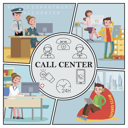 Flat support service composition with female operators of police department medical and shop call centers vector illustration