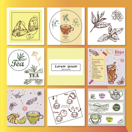Hand drawn tea time composition with colorful and monochrome style tea recipe utensils bags desserts plantation and herbs on square frames isolated Ilustração Vetorial