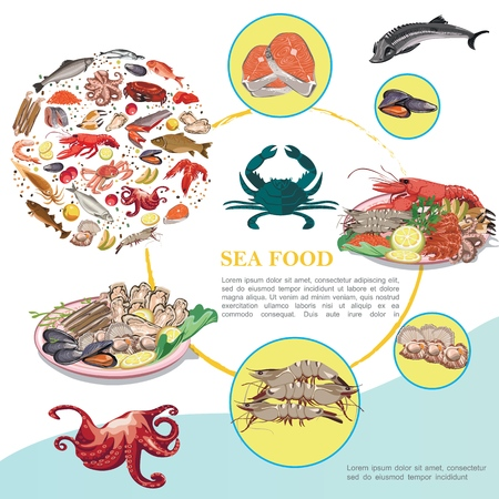 Flat seafood colorful template with marine animals creatures mussels scallops different fishes meat fruits spices Stock Illustratie