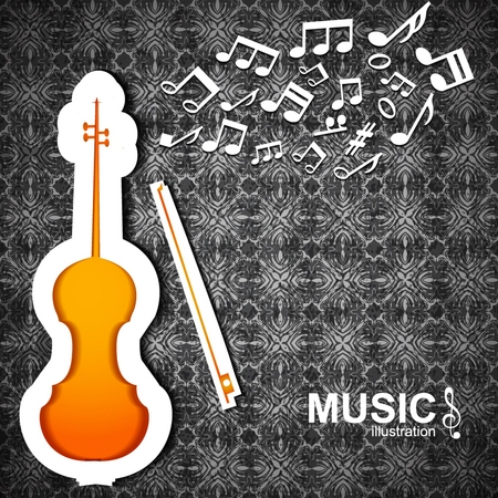 Music dark textured with bright violin bow and white notes flat