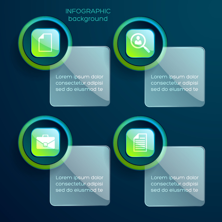 Business infographic concept with four glossy text boxes with attached green pictograms inscribed into square shapes