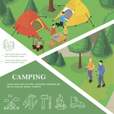 Isometric outdoor recreation colorful template with camping hiking and tent knife ax campfire boot linear icons vector illustration