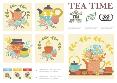 Hand drawn tea ceremony composition with ceramic pots cups lemon cupcake jar of jam flowers herbal tea stickers vector illustration