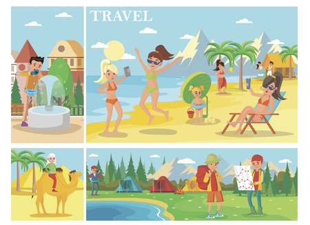 Flat summer vacation composition with people relax on beach man riding camel tourists camp in forest vector illustration Vectores